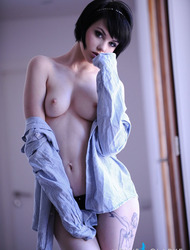 Mellisa Clarke strips mans shirt