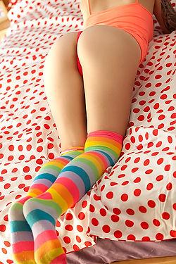 Hailey Leigh In Striped Socks