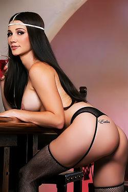 Erika Knight Posing At The Bar In Black Stockings