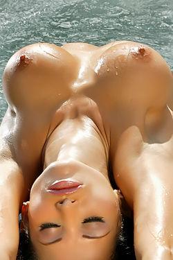 Gorgeous Wet Busty Babe Taking Bath
