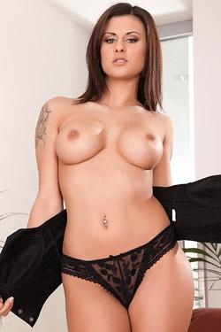 Busty Brunette Pornstar Billie Star Strips